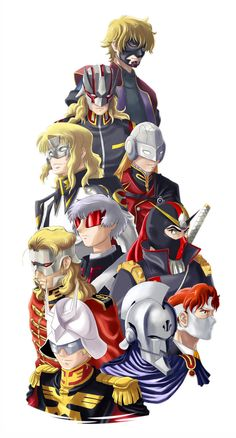Char Aznable with various Char inspired characters. Mobile Suit Gundam