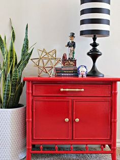 bamboo nightstand makeover using glossy spray paint, painted furniture Decor, Retro Home Decor, Interior, Home Furniture, Home Decor, Red Painted Furniture, Red Furniture, Furniture Makeover, Nightstand Makeover