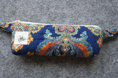 Etui à lunettes, à stylos, clés USB zippé , molletonné et doublé à petits pois tissu motifs arabesque : Etuis, mini sacs par belleanna