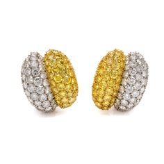 A Pair of 18 Karat Yellow and White Gold, Colored Diamond and Diamond Earclips, Van Cleef & Arpels
