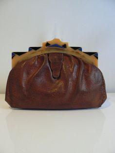 art deco purse with yellow bakelite clasp / by secreteyesonly, $98.00