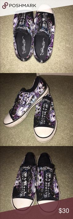 Black Ed Hardy Sneakers Really cute black and purple ed Hardy Sneakers. The white parts are a little dirty but think they can be cleaned. They're in great condition. Ed Hardy Shoes Sneakers