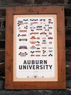 Auburn Map Design Print Illustaration... frame by Craig available at: http://www.amazon.com/gp/product/B00CBG9XHW/ref=oh_details_o00_s00_i00?ie=UTF8&psc=1