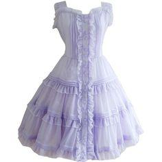 Partiss Women Short Sleeves Sweet Buttons Ruffles Lolita Dress (615 DKK) ❤ liked on Polyvore featuring dresses, flouncy dress, flounce dress, short-sleeve dresses, short sleeve dress and frilled dress