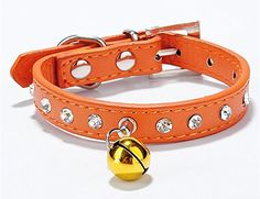WIN,1/2 Pcs Handmade Shiny Diamonds Pet Colorful Teddy Neck Collar Import PU Leather Bell Collar Small and Medium Pet Dog Cats Collar Sparkly Crystal (1 orange collar) *** Remarkable product available now.