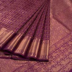 Buy online Handwoven Purple Kanjivaram Soft Silk Saree With Checks, Hamsa Motifs & Shikargarh Pallu 10013411