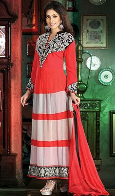 Red and Off White Georgette Long Churidar Suit Price: Usa Dollar $276, British UK Pound £161, Euro204, Canada CA$296 , Indian Rs14904.