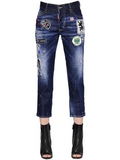 Patched Stretch Boyfriend Denim Jeans, Denim In Denimblue Ladies Jeans, Girls Jeans, Denim Jeans, Spring Summer 2015, Dsquared2, Jeans Size, Boyfriend, Inspire, Lady