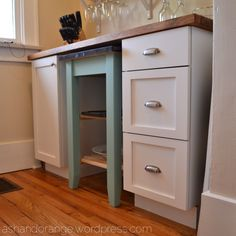 Like many bungalows, we have a small 5 x 5 room (I call it a nook) attached to our kitchen. When it came time to redo the kitchen, we considered removing the wall and making the nook part of … Studio Apartment, Nook, Bungalow, Kitchen Cabinets, Wordpress, Furniture, Ash, Home Decor, Orange