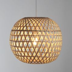 The gaps in this natural woven bamboo shade filter the light creating cosy patterns. Globe Lights, Pendant Lamp, Pendant Light, Ceiling Lights Diy, Bamboo Light, Light Shades, White Pendant Lamp, Bamboo Lamp, Light Fittings