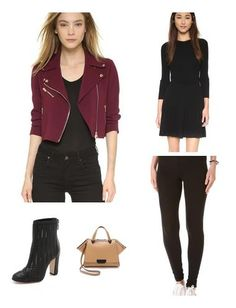 One of my personal favorites, the burgundy moto jacket makes quite a style statement, regardless of whether it's worn w/ jeans or sweater dress. In true NY style, I've styled the look in all-black but the addition of the gorgeous Schutz woven booties adds textural interest. Zac Posen satchel completes the look. Jewelry is minimalist and geometric.