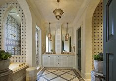 Linda Ruderman Interiors - Interior Designer - Greenwich - Coastal - Spanish - Colonial - Beach - Eclectic - Moroccan - Mediterranean - Transitional - Bathroom - Closet - Arch - White - Gold - Blue - Luxe - Ornate - tiles - Lights - Mirror - Geometric - Prints