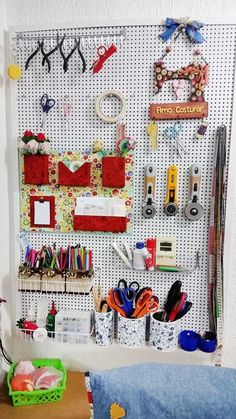 ideas for sewing room pegboard ideas Sewing Room Design, Sewing Room Decor, Craft Room Design, Sewing Spaces, My Sewing Room, Sewing Rooms, Sewing Pattern Storage, Sewing Room Storage, Sewing Room Organization