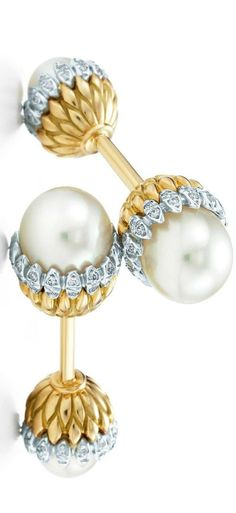 Acorn Cufflinks with Cultured Pearls and Diamonds set in 18k gold and platinum by Jean Schlumberger for Tiffany & Co.