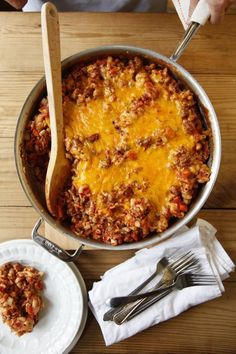 One-Skillet Cheesy Beef and Macaroni - part of 5 Comforting Dinners Mom Would Make!  From Katie Workman/ the mom100.com