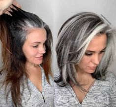 Medium Hair Styles, Curly Hair Styles, Natural Hair Styles, Grey Hair Transformation, Gray Hair Highlights, Grey Hair With Brown Lowlights, Brown And Silver Hair, Grey Brown Hair, Silver Hair Dye