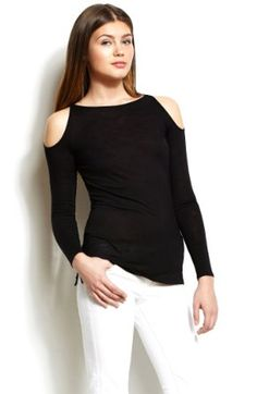 Amazon.com: Armani Exchange Open Shoulder Top: Clothing