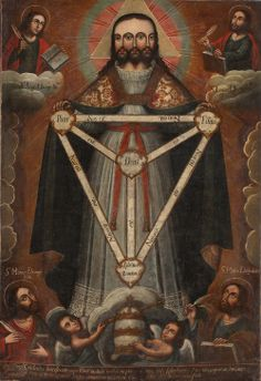 Trinidad trificela – The Three-Faced Trinity, an iconographic type of the Godhead that fell into disuse (or rather, was effectively outlawed as heterodox) in the wake of the Reformation. Also of note. Religious Icons, Religious Art, Colonial Art, Spanish Colonial, Alchemy Art, Religion, Esoteric Art, Occult Art, Sacred Art