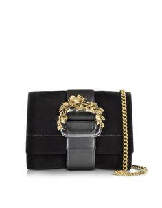 6553d0c2cbe2 Roberto Cavalli Small Black Velvet   Leather Clutch w Chain Strap
