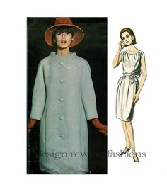 1960s VOGUE Mod COAT & Grecian Style DRESS Designed by Laroche @DesignRewind DesignRewindFashions - Vintage to Modern Sewing Patterns
