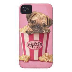 Popcorn Pug Case-Mate iPhone 4 Case #pug #dog #iphonecase #iphone #phonecase