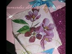 DIY TUTORIAL tecnica de servilleta  en foamy o fomy Decoupage, Videos, Doll Clothes, Napkins, Glitter, Places, Fabric, Diy, Tutorials
