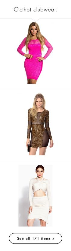 """""""Cicihot clubwear."""" by crazygirlandproud ❤ liked on Polyvore featuring dresses, lace cocktail dress, lace formal dresses, pink dress, formal cocktail dresses, lace bodycon dress, long sleeve body con dress, brown dress, long sleeve leopard print dress and leopard bodycon dress"""