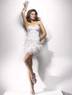 Luxurious Princess Sweetheart Empire Waist Feathers/Fur Short/Mini Satin Wedding Party dress  Party dress  Party dress  Party dress