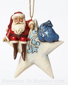 Santa on Star Ornament
