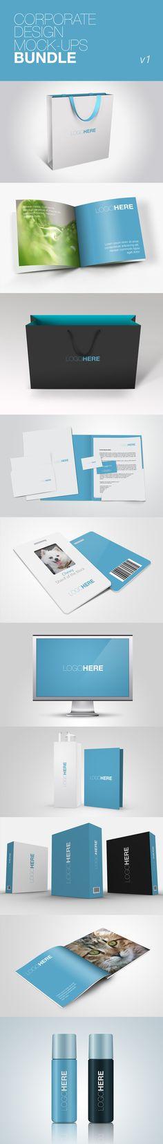#corporate #identity #Branding Presentation PSD Templates azul Mockup