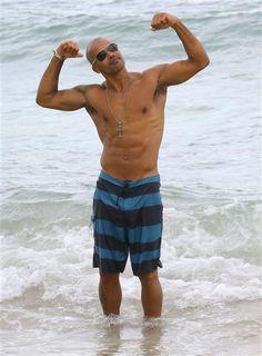 Shemar Moore looks good in swim trunks. See more stars on the beach on Wonderwall: http://on-msn.com/1mCJDH6