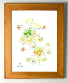 Nature Wall Art, Original and unique decor, Living room ideas, Yellow, Orange and Green plant, A4, A3, A2 sizes.