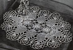 Pineapple Oval Doily crochet pattern from Pineapples on Parade, Clark's O.N.T. J. Coats, Book No. 241, in 1948.