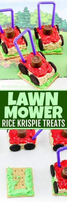 Lawn Mower Rice Krispie Treats These clever Lawn Mower Rice Krispie Treats are a totally unique summer treat! Perfect for Dad's birthday party or Father's Day dessert. Birthday Cakes For Men, Birthday Desserts, Birthday Treats, Cake Birthday, Birthday Recipes, Birthday Wishes, Birthday Parties, Birthday Sayings, Men Birthday