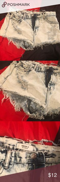 Crazy distressed high waisted short shorts These are WILDLY distressed all over. If you're looking for something crazy grungy these fit that role. Super short (my butt hung out of it) I pulled them up to be high waisted. Acid washed and well worn I just couldn't bear to throw them away 😅 Forever 21 Shorts