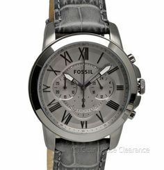 New FOSSIL Mens Grant Chronograph Watch, Gunmetal Gray w/ Leather Band, $125msrp