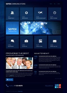 Sotex Communication Twitter Bootstrap HTML Template by Dynamic Template, via Behance