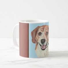 Pretty Hand Drawn Pastel Beagle Mug   puppy stuff, puppy tips, cute beagles #pets #dog #dogs, back to school, aesthetic wallpaper, y2k fashion