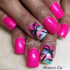 Palm tree gel nails