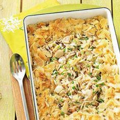 Chicken and Rice Casserole Recipe -Everyone loves this casserole because it's a tasty combination of hearty and crunchy ingredients mixed in a creamy sauce. It's a time-tested classic. —Myrtle Matthews, Marietta, Georgia