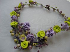 polymer clay, glass beads and wire