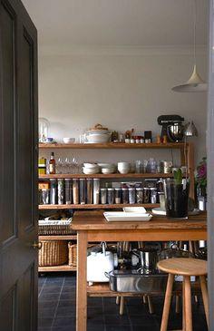 wood rack & island - lovely, simple, practical kitchen interior design