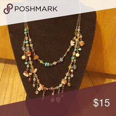 """""""Cody""""necklace Earth tones stones on a dark bronze chain. primere jewerly Jewelry Necklaces"""