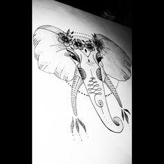 #ink #tattoo #tatuaje #elephant #draw #drawing #love