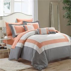 Duke Peach, White & Grey 10 Piece Embroidery Comforter Bed In A Bag Set