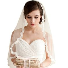 YUAKOU 1 layer Lace Edged Waist Length Bridal Veil with Comb Wedding Veils >>> See this great product.-It is an affiliate link to Amazon.