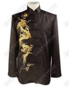 "This Cool Dragon Embroidered Silk Jacket is a wonderful piece that leaves a deep impression on anyone, at first sight. It is embroidered with the pattern of ""Dragon Teasing a Pearl"", which is the most classical theme in Chinese traditional culture."