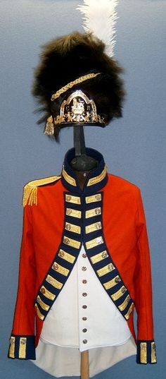 British 7th Royal Fusiliers Officer's Uniform, circa 1795, front view.