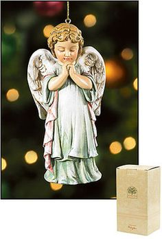 LOT OF 2 PRAYING ANGEL CHRISTMAS TREE ORNAMENTS GIFT BOXED  www.beattitudesgifts.com