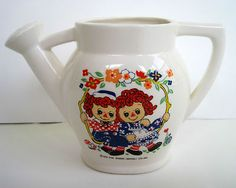 *1976 CERAMIC RAGGEDY ANN & ANDY ~ Andy watering can by Rubens